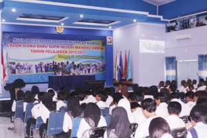 Penyampaian materi dari Lantamal IX Ambon kepada Siswa/I SUPM Waiheru Ambon